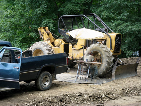 fixing the skidder