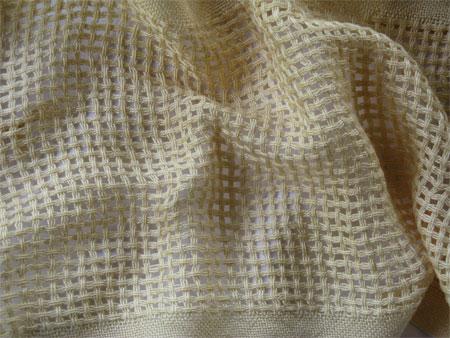 handwoven scarf, lemon chiffon huck windowpane