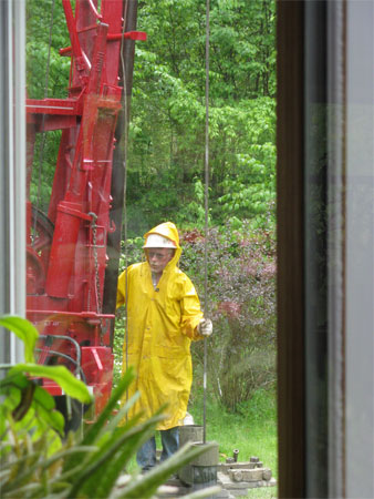 rain doesn't stop the drilling