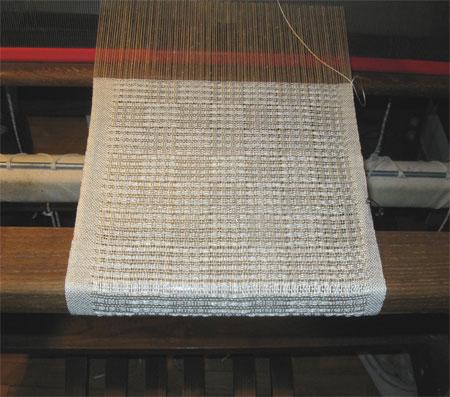 silk checkerboard scarf on the loom