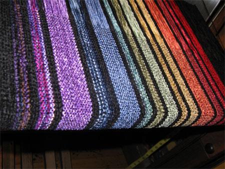 handwoven rayon chenille Rainbow shawls