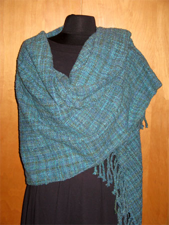 handwoven shawl, cotton flannel