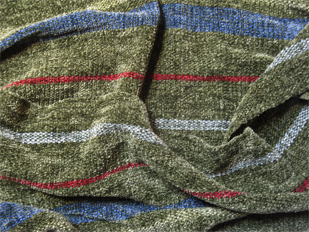 green stripe rayon chenille handwoven scarf