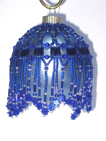 blue stars Victorian Christmas ornament