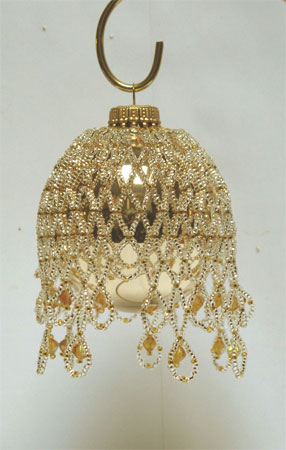 silver on gold Victorian Christmas ornament