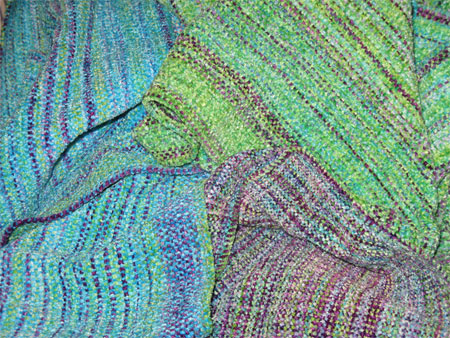 handwoven rayon chenille scarves - 3 gems