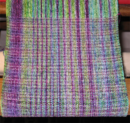 rayon chenille handwoven scarf - gems & purple