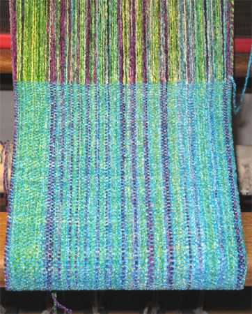 rayon chenille gems & turquoise handwoven scarf