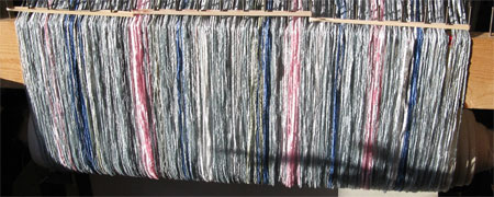 silver striped shawl on loom