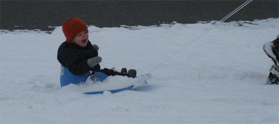 sled goes fast