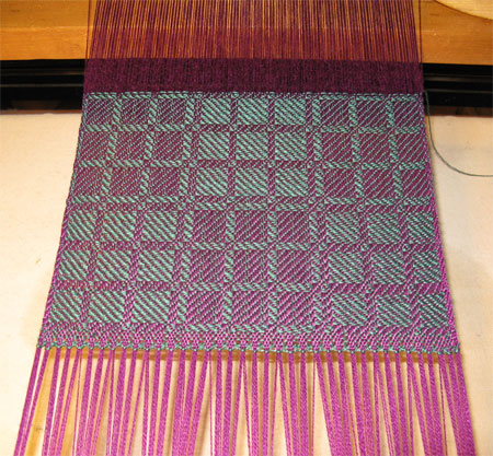 handwoven drall scarf, red violet and jade