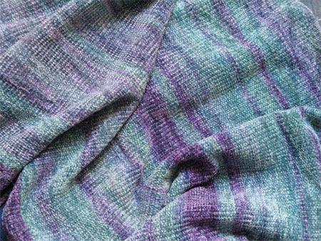 handwoven rayon chenille shawl, Frost
