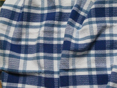 handwoven blue plaid towel