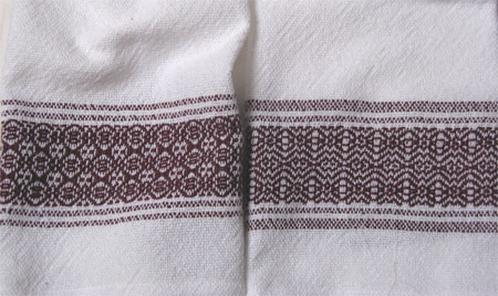 handwoven towels, cranberry border