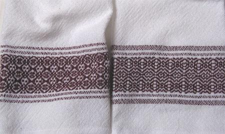 handwoven towels, cranberry border