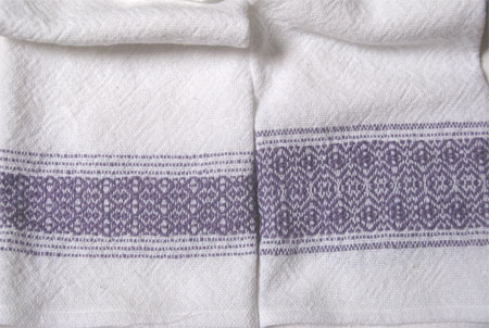 handwoven towels, lilac border