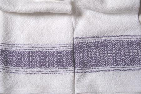 handwoven towels, lilac border