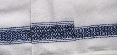 handwoven navy border towels