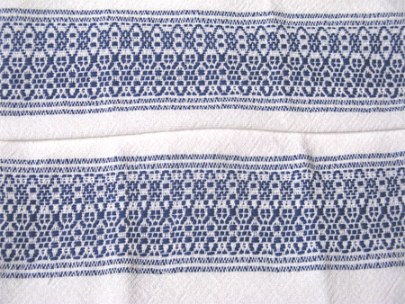handwoven towels, overshot borders