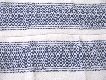 handwoven towels, overshot borders