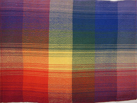rainbow plaid handwoven placemats