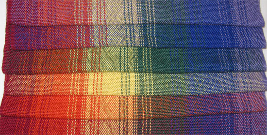 six weft rainbow handwoven placemats