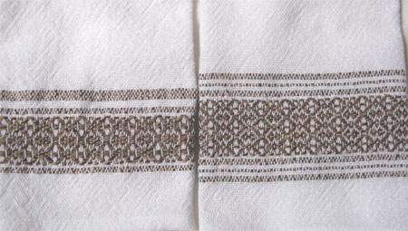 handwoven towels, tanbark border