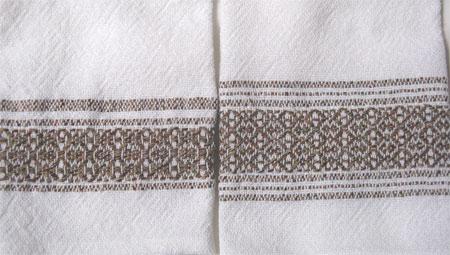 handwoven towels, tanbark border