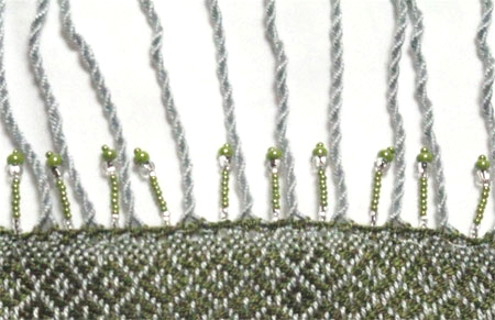 beaded scarf silver & olive