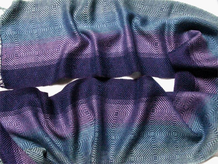 handwoven color blending scarf, navy