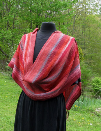 handwoven orange sunset shawl 1