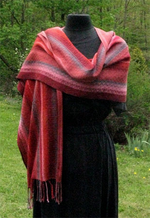 handwoven orange sunset shawl 2