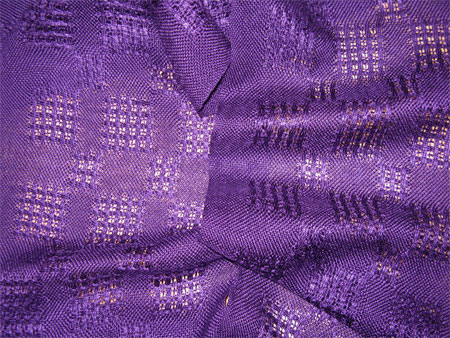 handwoven tencel scarves, purple lace blocks