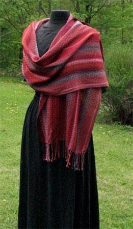 handwoven spice sunset shawl
