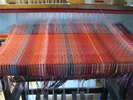sunset shawl on the loom