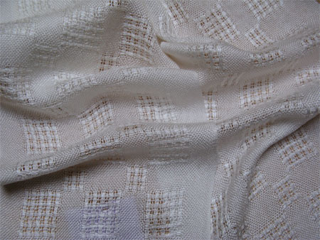 tencel handwoven scarves, white lace blocks