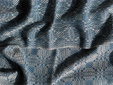 handwoven blue silk gebrochene scarf