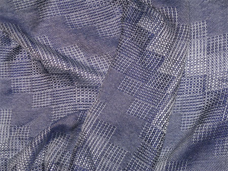 handwoven shawl, blue stairstep