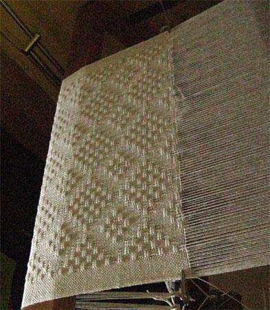 eggshell shawl on loom