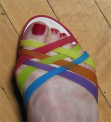 sandal with painted toenails