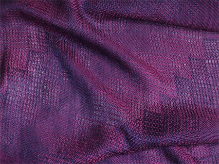 handwoven shawl, red-purple stairstep
