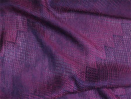 handwoven shawl, red-purple stairstep