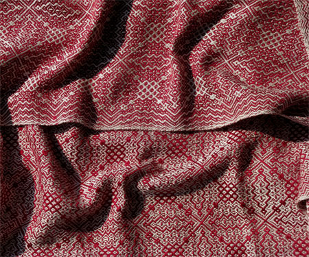 handwoven red silk gebrochene scarf