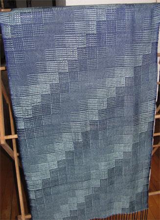 handwoven shawl, seafoam stairstop