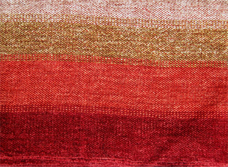 handwoven scarf, rayon chenile, color blending red weft