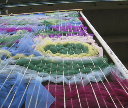 looking up at the weaving