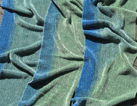 3 handwoven rayon chenille scarves in blue & green