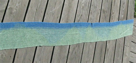 handwoven scarves, blue & green clasped weft