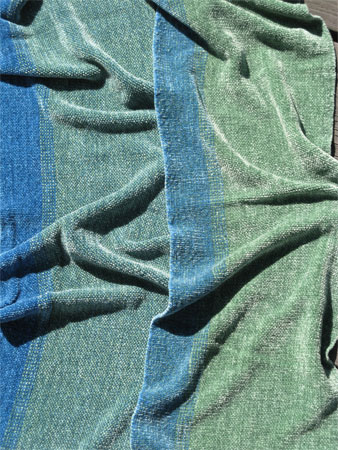 handwoven rayon chenille scarves, blue & green