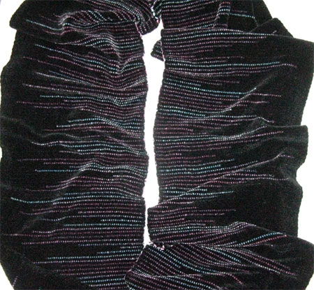 handwoven scarf with clasped weft, dreamcatcher